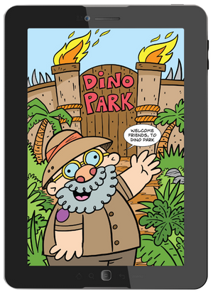 "Start your drawing adventure with a funny comic about the ""crazy"" dinosaur world."