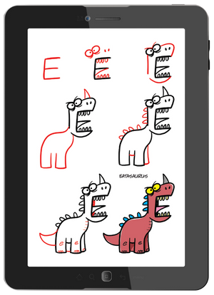 Start with a letter and add lines and shapes to create fun dinosaurs. No erasing!