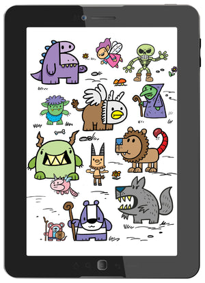 Draw Kawaii Fantasy Creatures Using Letters and Numbers (Digital Book)