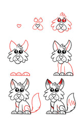 Easy to follow steps allow artists to create fun characters starting with a heart shape.