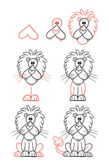 Learn how to draw a lion using a heart.