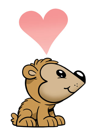 draw a cute bear cub using a heart.