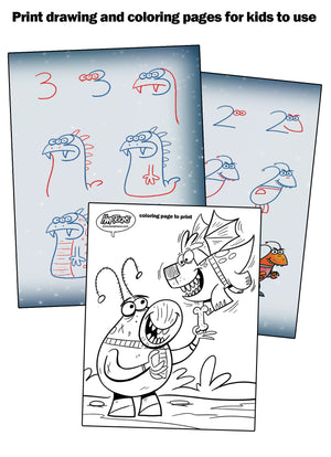 Print drawing and coloring pages to share with kids