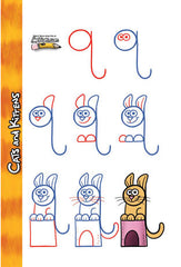 Add lines and shapes to each lowercase letter to create a fun pet.