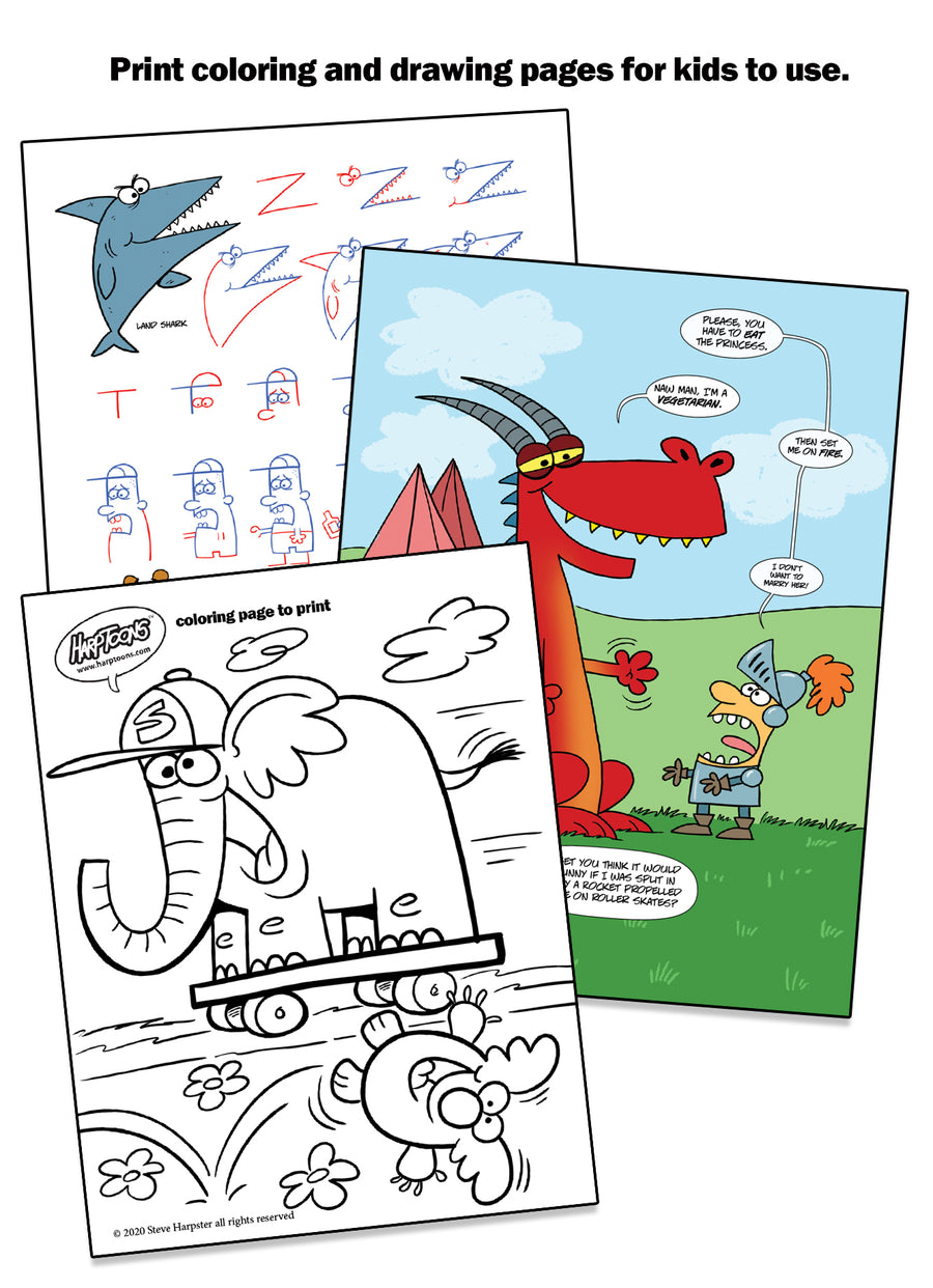 Print pages to share with kids and free your smartphone or tablet