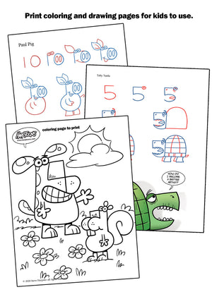 Print coloring pages and how to draw pages to use over and over again.