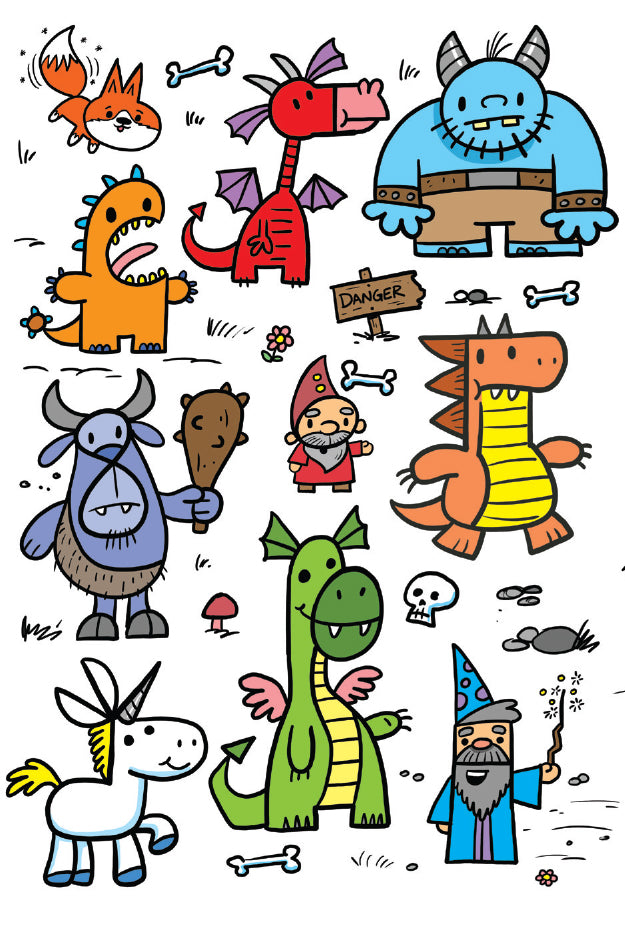 Draw Kawaii Fantasy Creatures Using Letters And Numbers Shop Harptoons
