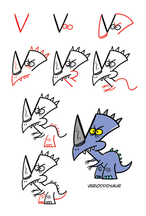 Draw Crazy Dinosaurs Using Letters and Numbers