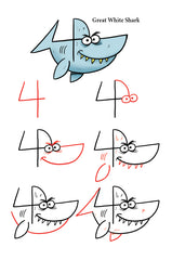 Take the number 4 and turn it into a shark by following the easy to draw steps.