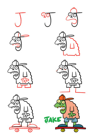 Easy to follow step-by-step directions show how to draw each character.