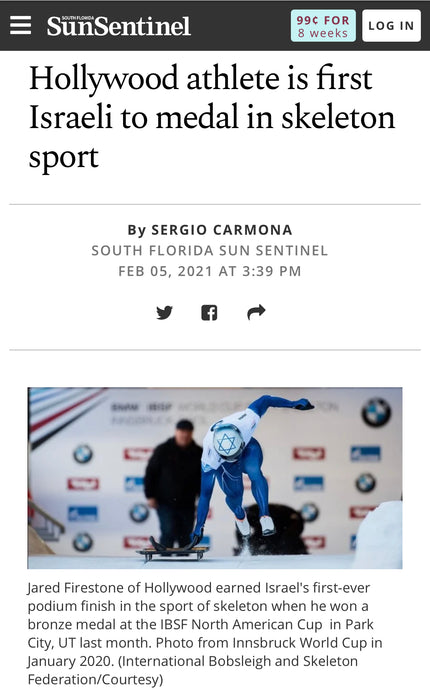 Sen Sentinel - Hollywood Athlete Is First Israel To Medal In Skeleton