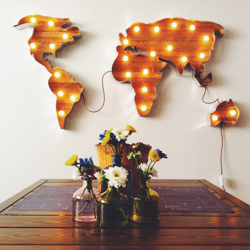 World Map Marquee Light