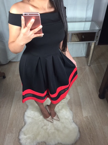 Bardot Black Dress W Red Edging