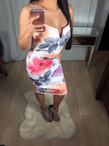 Strappy Body Con with Large Roses