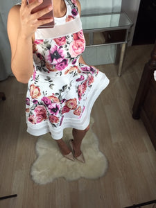 White W Pink Floral Skater/ Party Dress