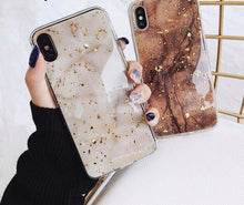 Load image into Gallery viewer, Iphone Gold Foil Bling Marble For Glitter Case