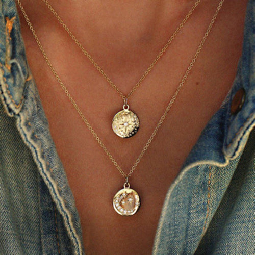 NEW Tocona Boho Star Moon Double Layered Necklace Gold Chain