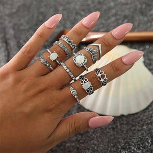 NEW 11 Pcs/set Bohemian Retro Opal Lotus Crystal Wave Silver Ring Set
