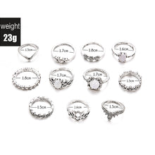Load image into Gallery viewer, NEW 11 Pcs/set Bohemian Retro Opal Lotus Crystal Wave Silver Ring Set
