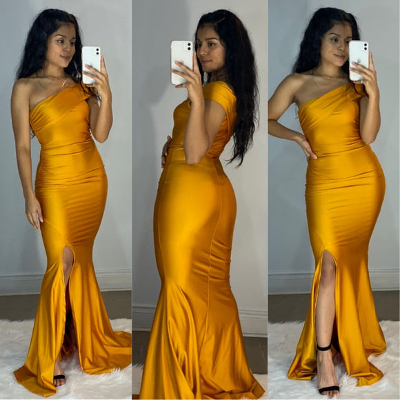 Emma Couture Gown - Mustard