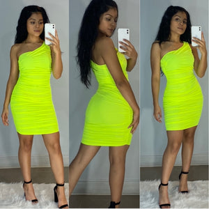 Don't Mesh With Me Dress (Neon Yellow)