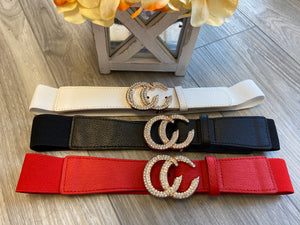 Double RIng CC Rhinestone Belt