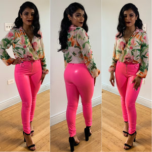 Hot Number Latex Pants (Neon Pink)