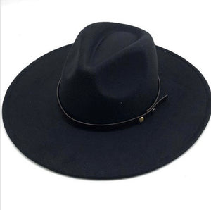 Wide Brim Dandy Panama Hat (Black)