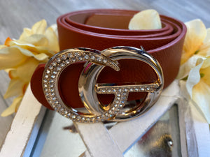 Rhinestone Double Ring Belt (Camel)