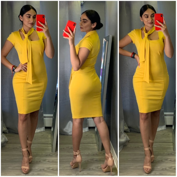 Bow Me A Kiss Dress (Yellow)