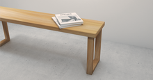 Load image into Gallery viewer, This Angsana solid wood bench is light in colour. Wood has been kiln-dried to ensure that the wood bench is durable and long lasting.