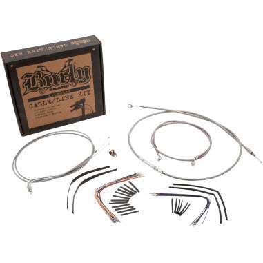 "Braided Stainless Steel Cable/Brake Line Kit For 14"" Gorilla Bars"