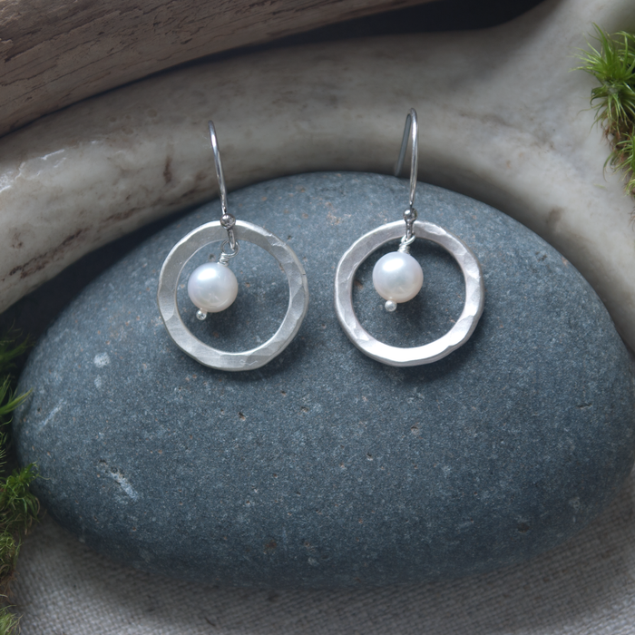 Earrings Hammered Circle Wire with Pearl by Lisa Gent