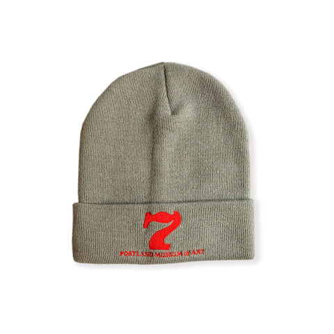"""SEVEN"" Gray Knit Winter Hat"