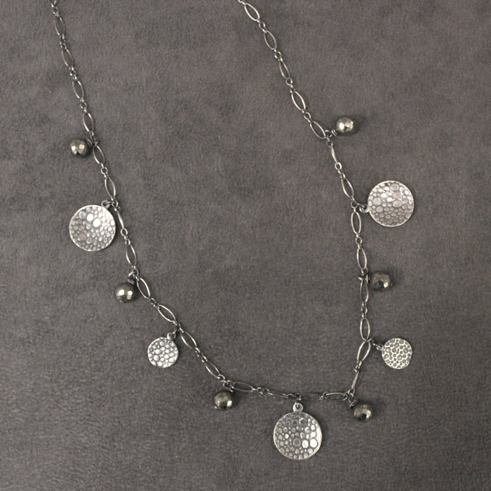 "Necklace Scattered Raindrops with Pyrite on 18"" Sterling Silver Chain by Maggie Bokor"