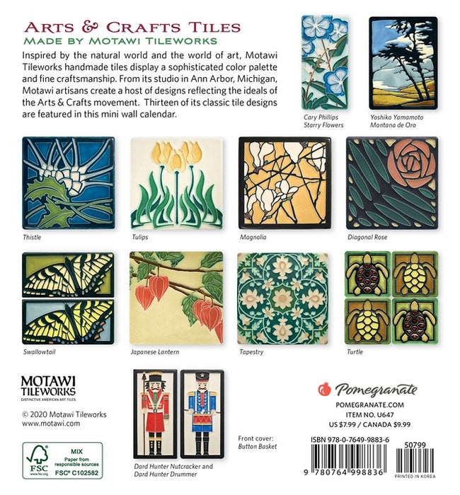 Motawi Arts & Crafts Tiles 2021 Mini Wall Calendar (6½ x 7 in.)
