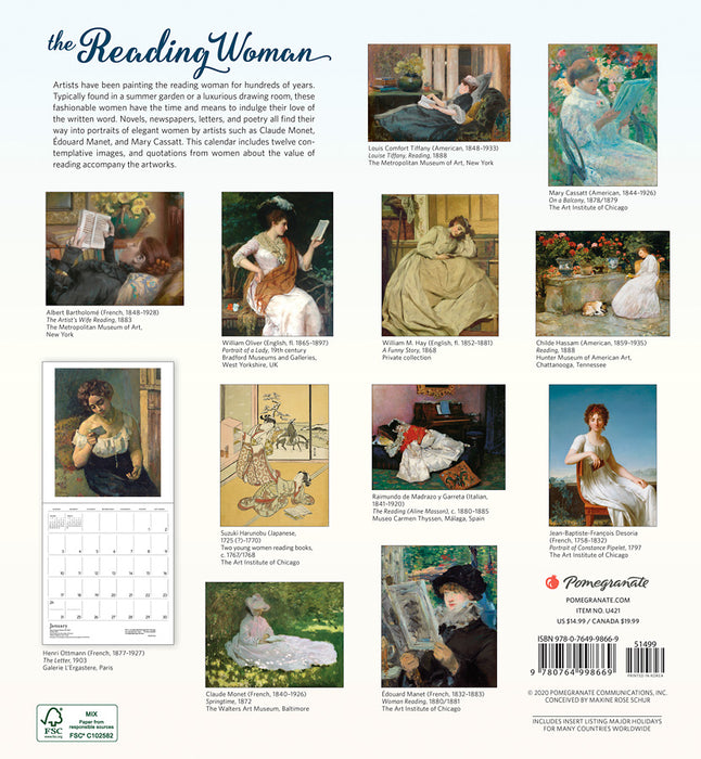 The Reading Woman 2021 Wall Calendar (12 x 13)