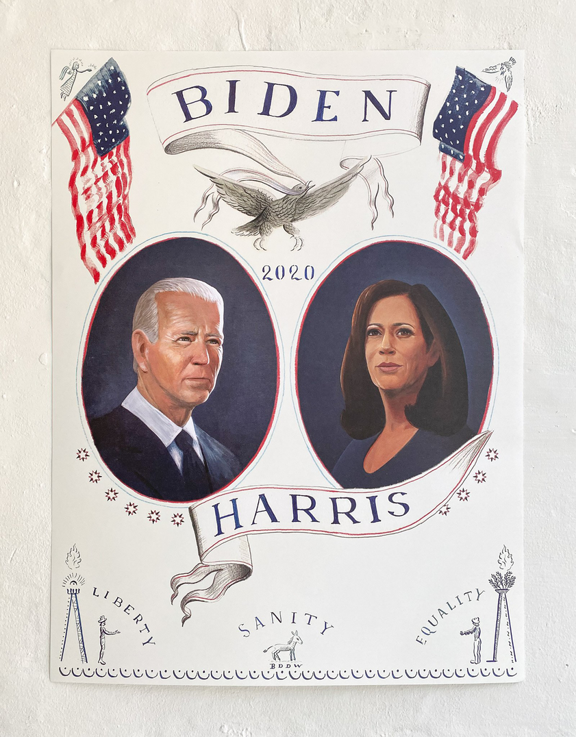 "Liberty, sanity, equality! Celebrate the historic Biden Harris campaign with a poster by <a href=""https://mcrowcompany.com/"">BDDW</a>, in collaboration with <a href= https://www.instagram.com/futureearth/?hl=enFuture Earth"">Future Earth</a>. Printed on premium, archival FSC Certified eggshell paper, 100% of the profits from each sale will be donated to the Biden Victory Fund."