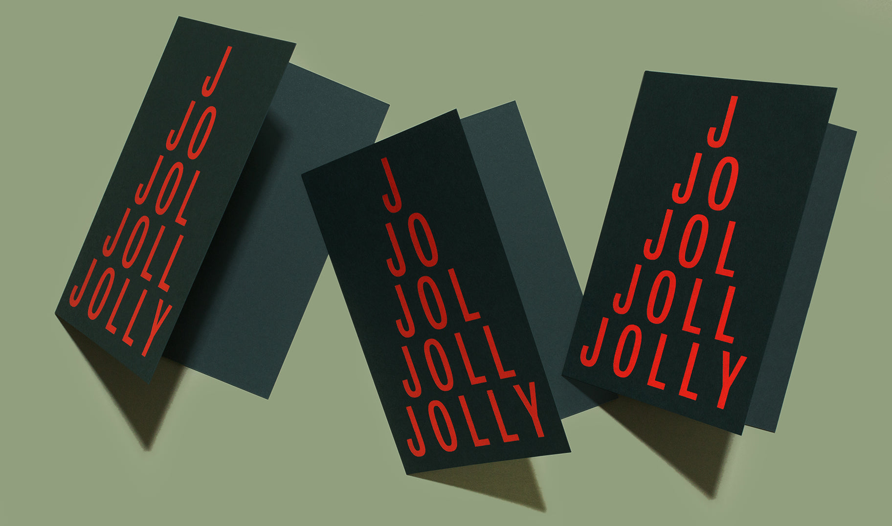 Our take on the classic Christmas card. Jolly features a bright red foil stamp on a heavyweight dark green Mohawk Keaykolour paper.
