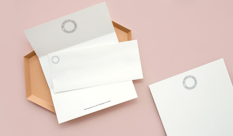 An astute series of letterhead and envelope sets printed on premium eggshell paper, created by Art Director Ania Diakoff. Official Correspondence will add to any voice the echo of its constituency.