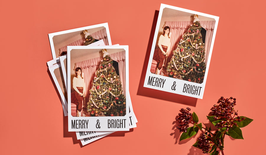 Be merry and bright with a custom photo card. Use our easy Design Online editor to drag and drop your own imagery into the design.
