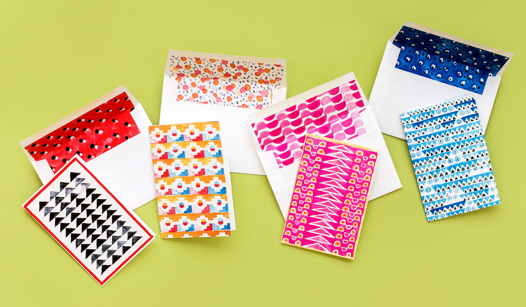 We are longtime fans of Block Shop's bright geometric patterns. So when it came time to get started on our Paper Cuts collaboration, we wanted to include as much of their beautful original artwork as possible. These unique stationery sets feature 4 cards with bold watercolor paintings and matching lined envelopes, all printed on our signature eggshell paper. Photos of Block Shop by Laure Joliet.