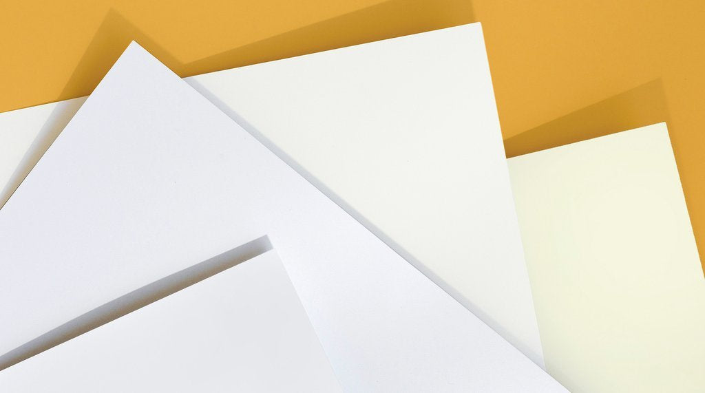 Paper Chase Press supports the protection of the environment by using only American-made FSC Certified stocks. Choose from our three sustainable options (also available in Double-Thick weight).<br/><br/>Silk Coated: A luxe coated finish on our heavy 130# paper, extra smooth for a modern presentation.<br/>Bright White Uncoated: A sturdy 130# paper with a natural texture and a bright white color, the perfect organic surface. <br/>Eggshell Uncoated: A more textured 120# paper in a traditional eggshell color.