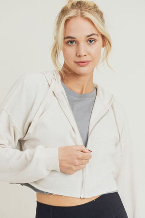 Crop Hoodie Zip-Up French Terry Jacket