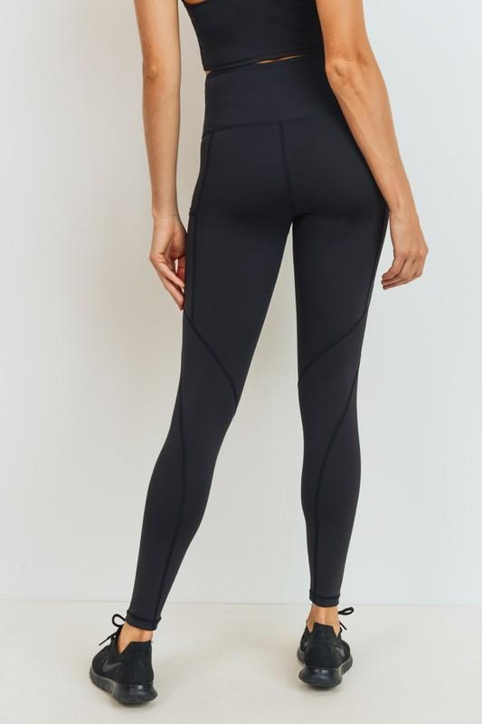 Highwaist Solid & Slanted Panels Leggings