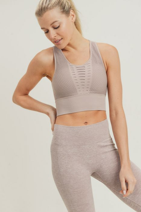 Laser Cut Seamless Sports Bra (Almond)