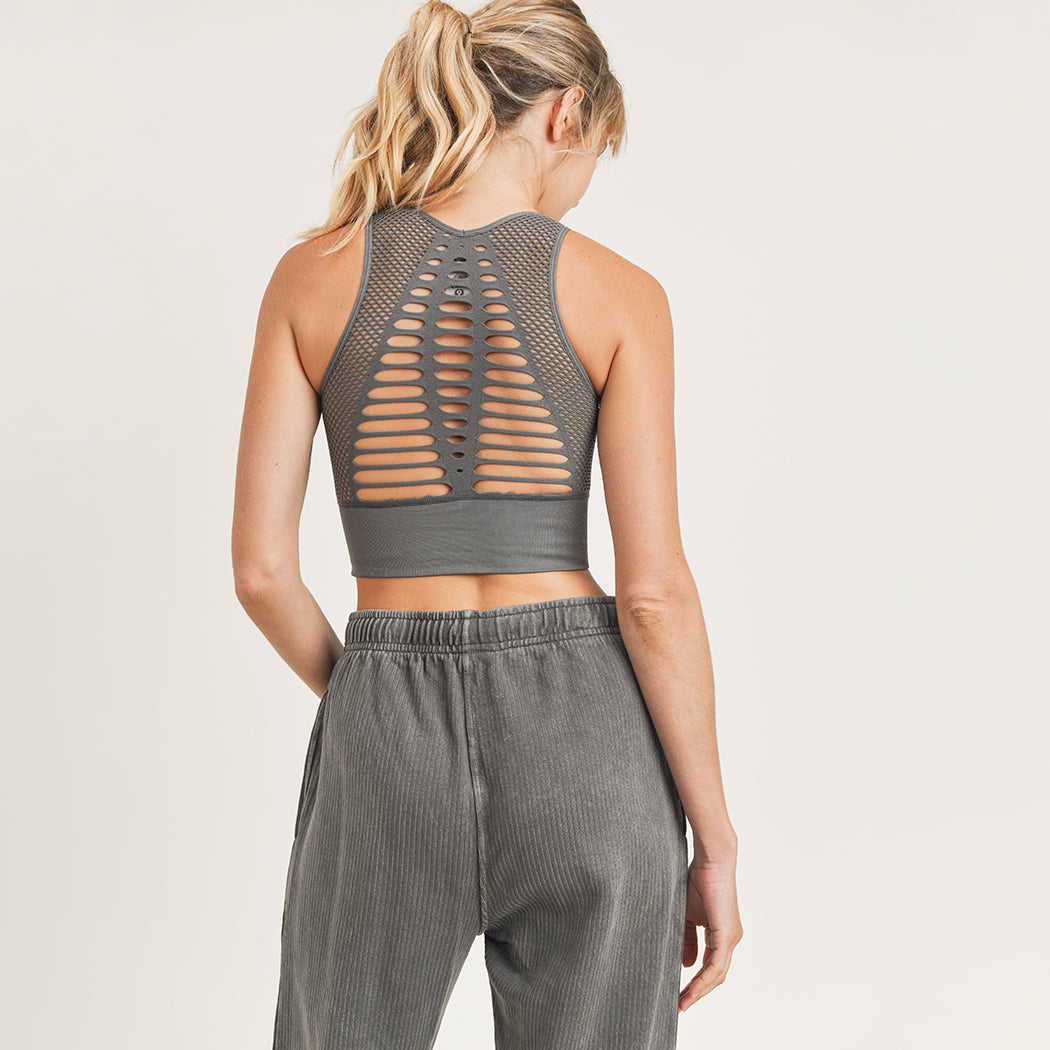 Laser Cut Seamless Sports Bra (Gun Metal)