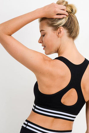 Seamless Striped Rib Cutout Sports Bra