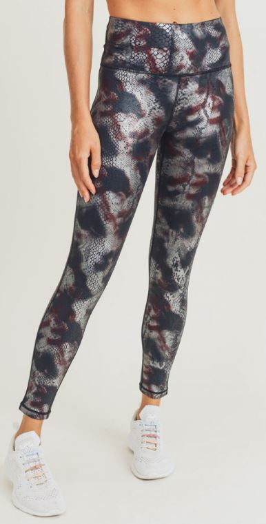 Multicolor Foil Snake Print Highwaist Leggings
