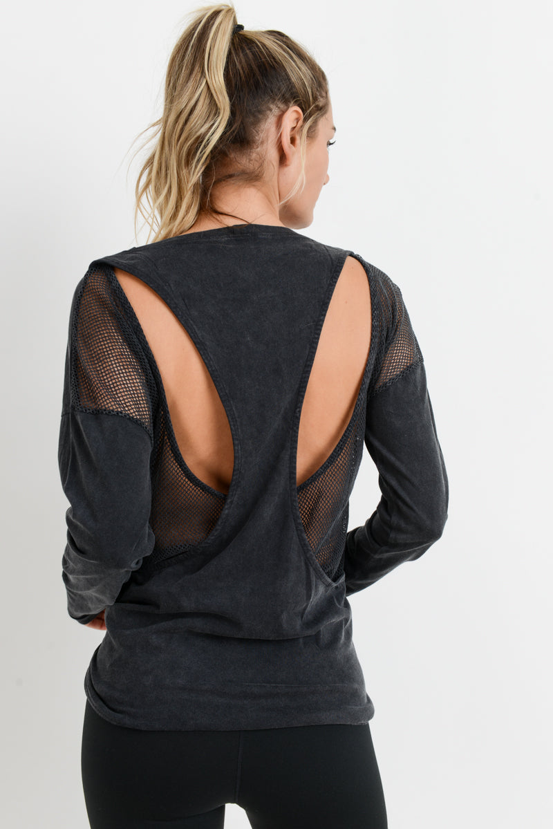 Cut Out Mesh Overlay Mineral Wash Top